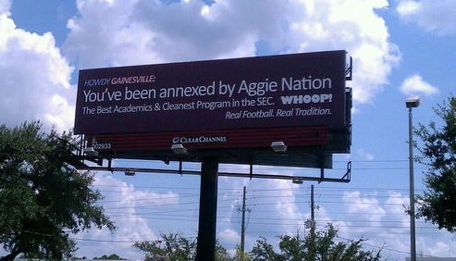 A billboard in Gainesville, Fla., made the Aggies appear to be rude newcomers to the SEC, but it wasn't put up by the school and was quickly taken down. Photo: Handout
