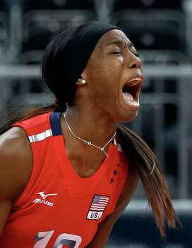 USA's Destinee Hooker (19) reacts as her team defeats South Korea 3-0 during a women's volleyball semifinal match at the 2012 Summer Olympics Thursday, Aug. 9, 2012, in London. Photo: Chris O'Meara, Associated Press / AP