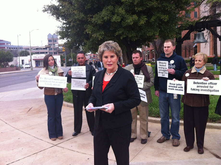 GOP candidate for sheriff Susan Pamerleau was backed by several supporters at the Bexar County Courthouse on Feb. 7 when she first unveiled a long list of criticisms of Sheriff Amadeo Ortiz. Pamerleau, who faces Ortiz in the Nov. 6 general election, alleged a pattern of mismanagement by the Democratic incumbent, and now she's saying the pattern continues. Pamerleau said this week that the heat-related deaths of two K-9s in a deputy's vehicle are only the latest missteps at the Sheriff's Office. Photo: San Antonio Express-News
