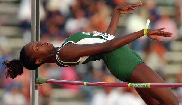 Southwest's Destinee Hooker competes in the Girls High Jump April 8, 2005 during the 78th Clyde Littlefield Texas Relays held at Mike A. Myers Stadium in Austin. Photo: EDWARD A. ORNELAS, San Antonio Express-News / SAN ANTONIO EXPRESS-NEWS