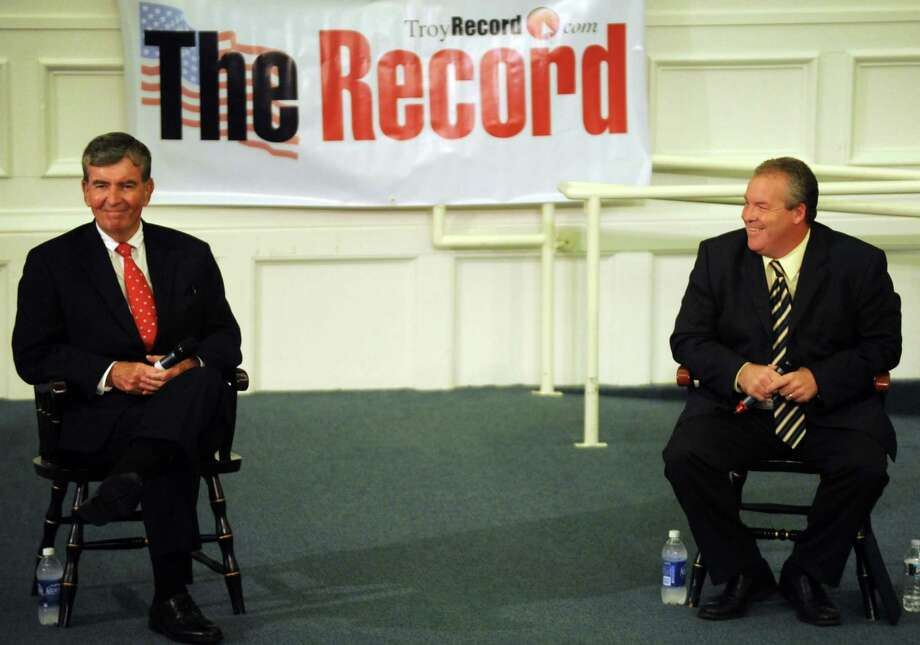 State Senator Neil Breslin, left, and challenger Shawn Morse debate at Russell Sage College in Troy, NY Tuesday Sept. 4, 2012. (Michael P. Farrell/Times Union) Photo: Michael P. Farrell