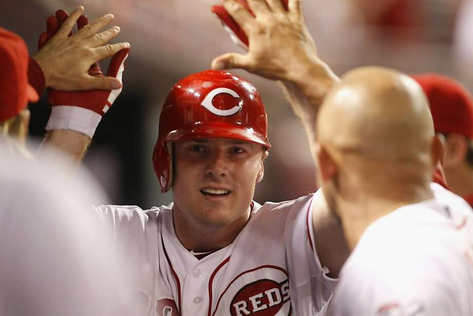 Jay Bruce homered for the third straight game, hitting a two-run shot that sent the Reds to a victory over Philadelphia on Tuesday night. Photo: John Grieshop, Getty Images