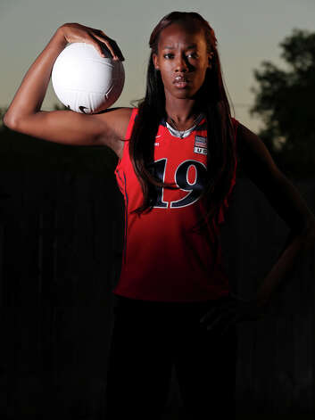 Volleyball player Destinee Hooker poses for a photo Oct. 16, 2011. Photo: EDWARD A. ORNELAS, San Antonio Express-News / eaornelas@express-news.net