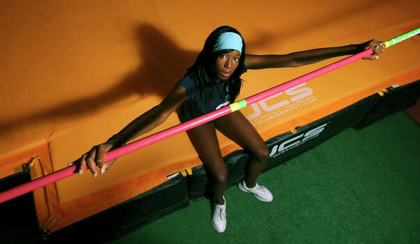 Destinee Hooker, posing June 24, 2008 at So High Sports & Fitness Training in San Marcos, is trying to make the Olympic team in the high jump. Photo: EDWARD A. ORNELAS, San Antonio Express-News / eornelas@express-news.net