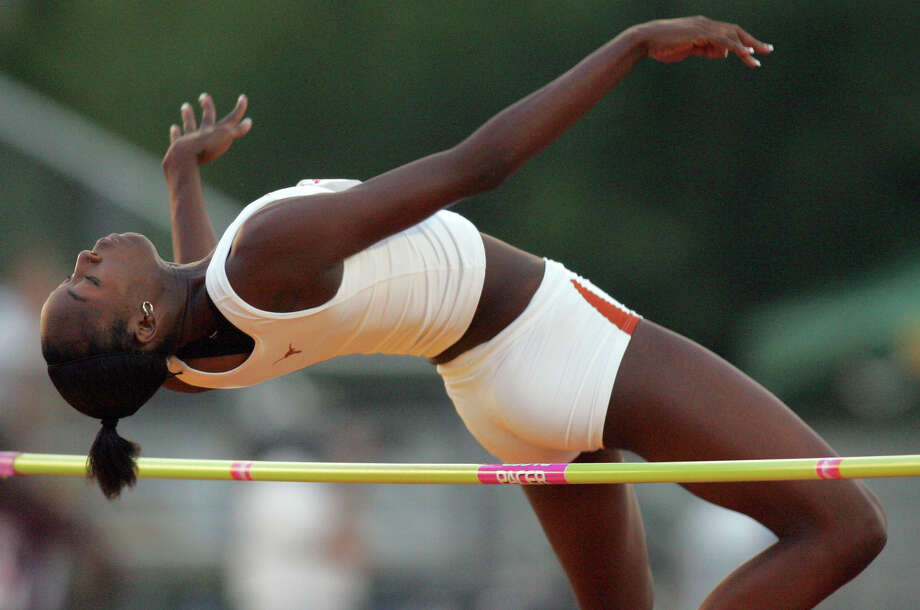 Texas' Destinee Hooker competes in the high jump event May 14, 2006 during the Big 12 Conference Outdoor Track & Field Championship held at Hart-Patterson Track & Field Complex in Waco. Photo: EDWARD A. ORNELAS, San Antonio Express-News / SAN ANTONIO EXPRESS-NEWS