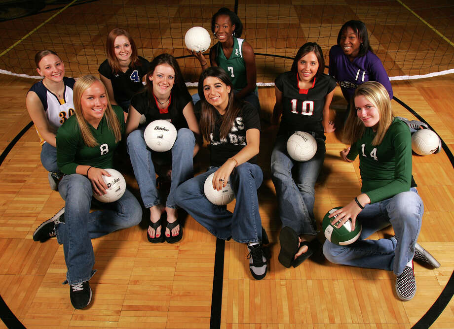 2005 All-Area Volleyball teammembers are (left to right): Tiffany Jansky of Poth, Megan York of Reagan, Rachel Brown of New Braunfels, Sam Dabbs of Churchill, Stephanie Cadavid of Clark, Destinee Hooker of Southwest, Jenny Banse of Churchill, Michelle Uzoh of Warren and Sarabeth Peele of Reagan. Photo: JERRY LARA, San Antonio Express-News / SAN ANTONIO EXPRESS-NEWS