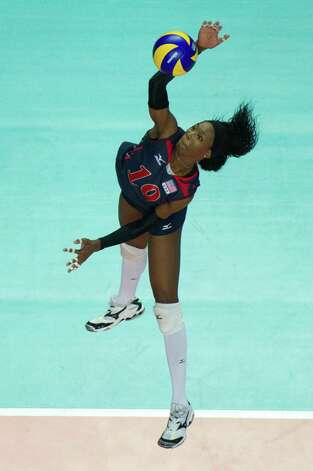 Destinee Hooker scored a team-high 16 points, including 15 kills, during the U.S.'s win in the FIVB World Grand Prix final. Aug. 28, 2011. Photo: Conny Kurth, Conny Kurth / Www.kurth-media.de / Conny Kurth