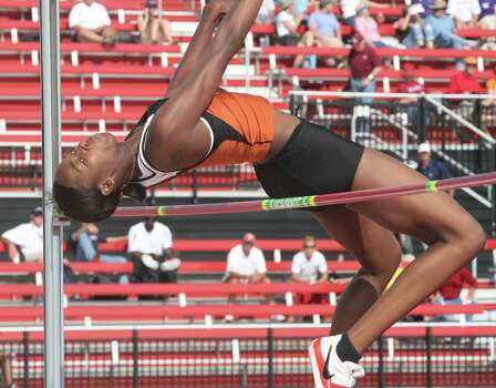 Texas junior Destinee Hooker became the second female in NCAA history to win three outdoor high jump titles June 19, 2009 after she cleared 6-4.75 (1.95m) to win the 2009 NCAA Outdoor high jump crown. Photo: Courtesy Photo