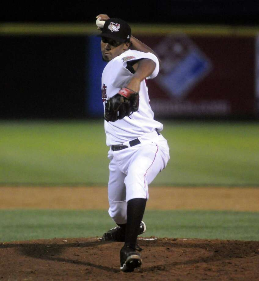 ValleyCats Juan Minaya pitches during their game against the Hudson Valley Renegades at Joe Bruno Stadium in Troy, NY Tuesday Sept. 4, 2012. (Michael P. Farrell/Times Union) Photo: Michael P. Farrell