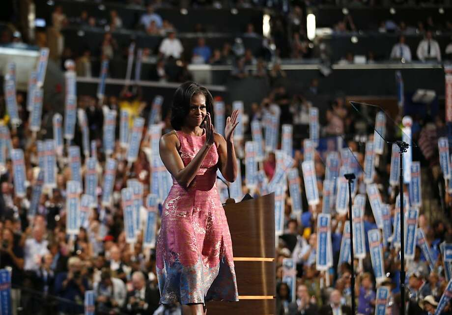 First lady Michelle Obama takes center stage at the Democratic National Convention in Charlotte, N.C., and delivers her most political speech yet. Photo: Jae C. Hong, Associated Press