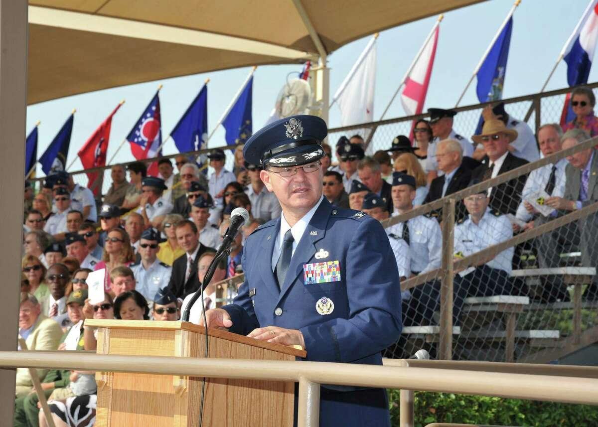Col. Eric Axelbank, 37th Training Wing commander, addresses the audience during the 37th TRW change of command ceremony June 6.