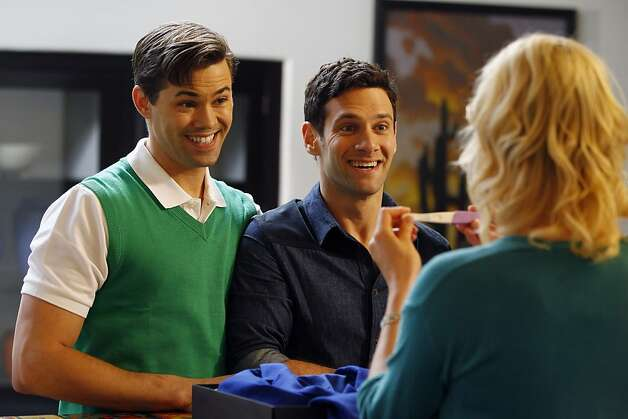 "THE NEW NORMAL -- ""Pilot"" -- Pictured: (l-r) Andrew Rannells as Bryan, Justin Bartha as David, Georgia King as Goldie -- (Photo by: Trae Patton/NBC) Photo: Trae Patton, NBC"
