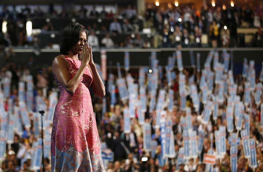 First lady Michelle Obama waves after addressing the Democratic National Convention in Charlotte, N.C., on Tuesday, Sept. 4, 2012. (AP Photo/Jae C. Hong) Photo: Jae C. Hong, Associated Press