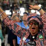 Julia Hicks, 63, a delegate from Colorado dances at the 2012 Democratic National Convention at the Time Warner Cable Arena in Charlotte, North Carolina, Tuesday, September 4, 2012. (Chuck Liddy/Raleigh News & Observer/MCT)