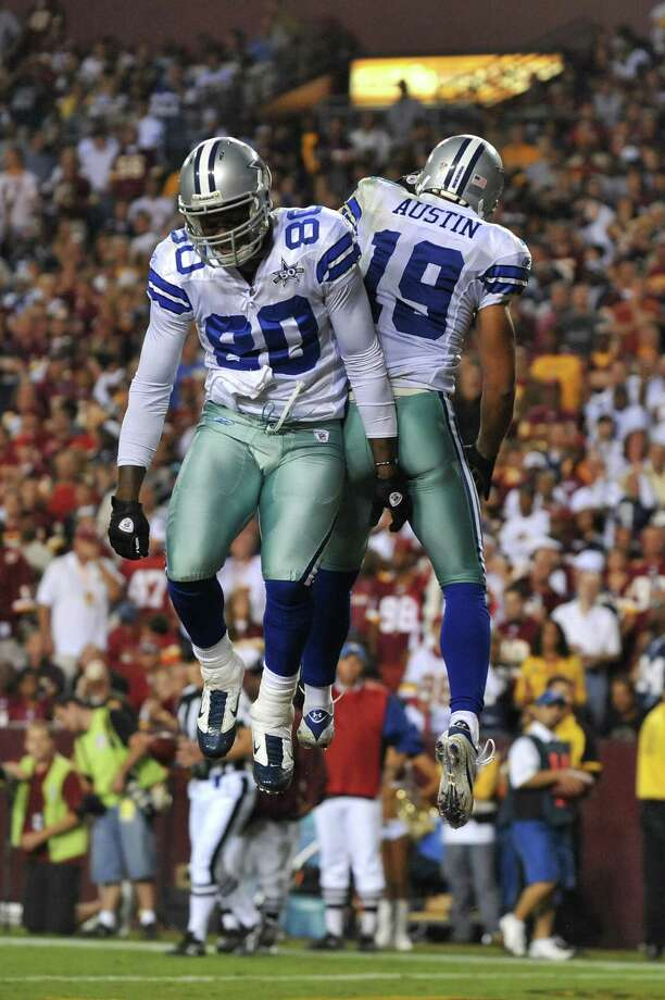 Miles Austin #19 of the Dallas Cowboys celebrates his touchdown during the NFL season opener against the Washington Redskins at FedExField on September 12, 2010 in Landover, Maryland. The Redskins defeated the Cowboys 13-7. Photo: Larry French, Getty Images / 2010 Larry French