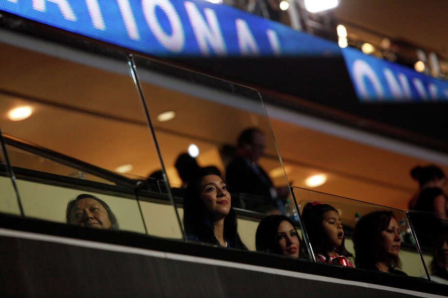 Erica Castro, center, with her mother-in-law, Rosie Castro, left, and daughter, Carina Castro, 3, right, wait for her husband, Mayor Julian Castro, to deliver the keynote address on the first night of the Democratic National Convention at Time Warner Cable Arena in Charlotte, NC on Tuesday, Sept. 4, 2012. Photo: Lisa Krantz, San Antonio Express-News / San Antonio Express-News