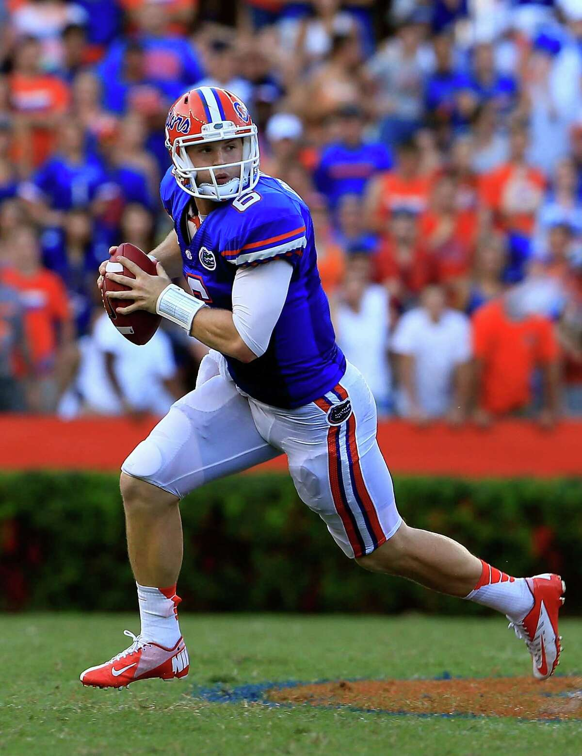 GAINESVILLE, FL - SEPTEMBER 01: Jeff Driskel #6 of the Florida Gators scrambles for yardage during the game against the Bowling Green Falcons at Ben Hill Griffin Stadium on September 1, 2012 in Gainesville, Florida.