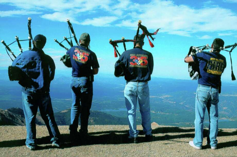 San Antonio Firefighter Pipe and Drum Brigade members (L to R) Aaron Tilt, Stephen Ersch, Jeremy Walker And Tom Robles play at Pikes Peak. Courtesy Photo. Photo: COURTESY PHOTO