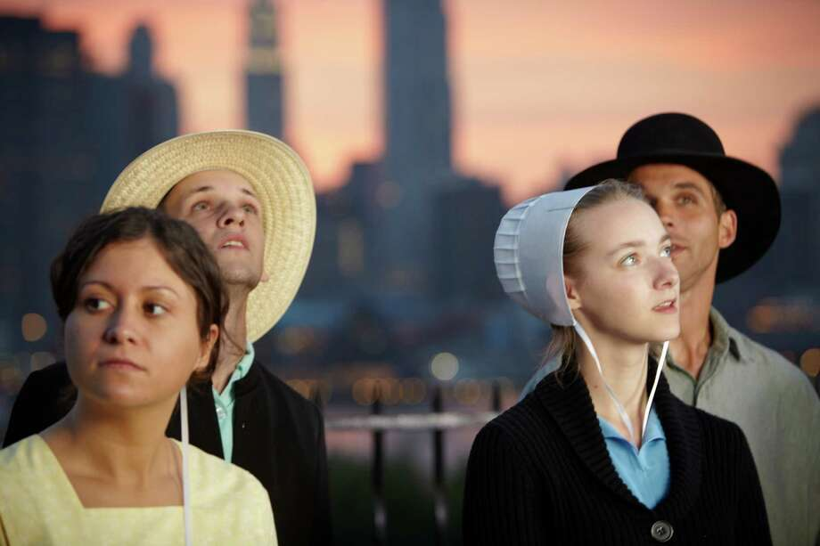 "Sabrina (from  left), Abe, Rebecca and Jeremiah experience social freedom and the big city in TLC's ""Breaking Amish."" Photo: TLC / ONLINE_YES"