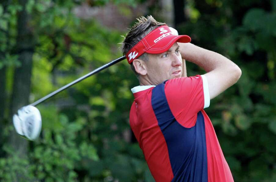 Ian Poulter of England tees off on the 12th during the Pro-Am for the BMW Championship PGA golf tour