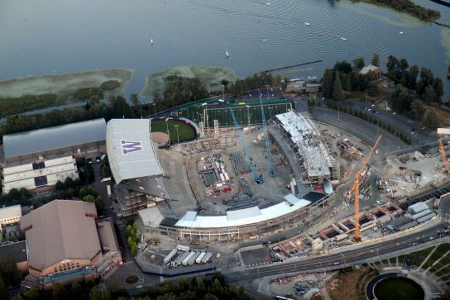 An aerial view of the Husky Stadium renovation on Saturday, Aug. 25, 2012. (Courtesy Photo / Jeremy Elson)