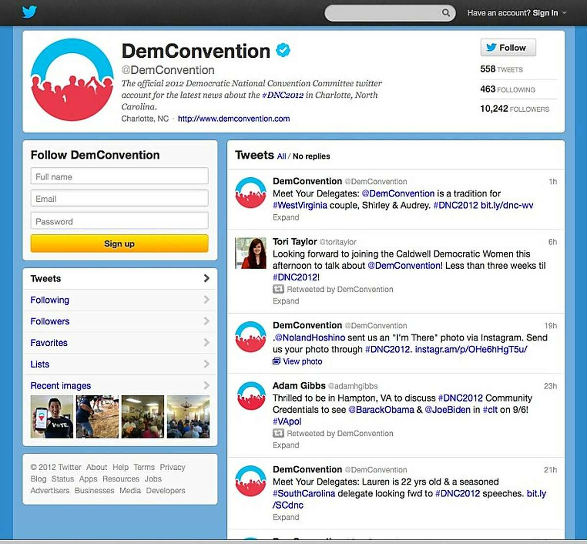 In this screen shot provided by the Democratic National Convention Committee, the committee's Twitter account is seen. Social media is making the smoke-filled rooms of political conventions a thing of the past. Democrats are promising to use Twitter, Facebook and blogs to make their 2012 convention the most open to the public in the party's two-century history. (AP Photo/Democratic National Convention Committee)