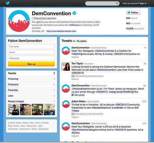 In this screen shot provided by the Democratic National Convention Committee, the committee's Twitter account is seen. Social media is making the smoke-filled rooms of political conventions a thing of the past. Democrats are promising to use Twitter, Facebook and blogs to make their 2012 convention the most open to the public in the party's two-century history. (AP Photo/Democratic National Convention Committee) Photo: Associated Press