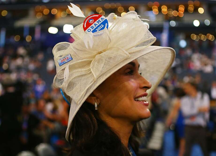 CHARLOTTE, NC - SEPTEMBER 05:  Carmen Lonstein of New York, NY wears a hat decorated with campaign buttons during day two of the Democratic National Convention at Time Warner Cable Arena on September 5, 2012 in Charlotte, North Carolina. The DNC that will run through September 7, will nominate U.S. President Barack Obama as the Democratic presidential candidate. Photo: Joe Raedle, Getty Images