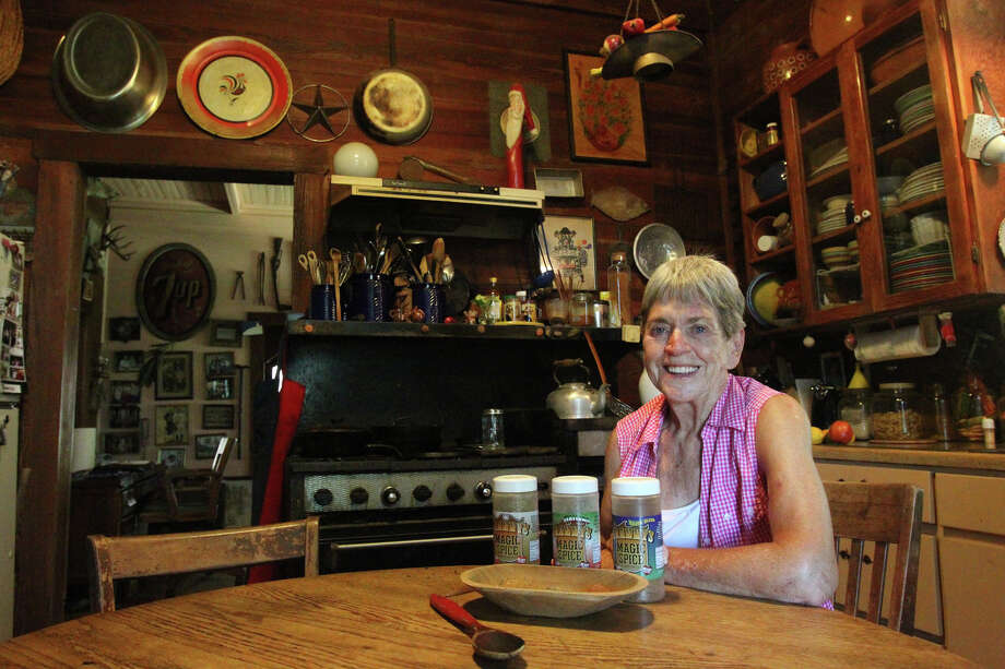 Fran West,77, sits in her kitchen just east of San Antonio Monday July 30, 2012. West recently started her own spice company called Granny's Magic Spice and sells her product in 156 H-E-B stores across Texas. West makes her original spice, an Italian spice and a Cajun style spice. West started her creation in this kitchen.  John Davenport/©San Antonio Express-News Photo: John Davenport/© San Antonio Ex, San Antonio Express-News / John Davenport/©San Antonio Exp