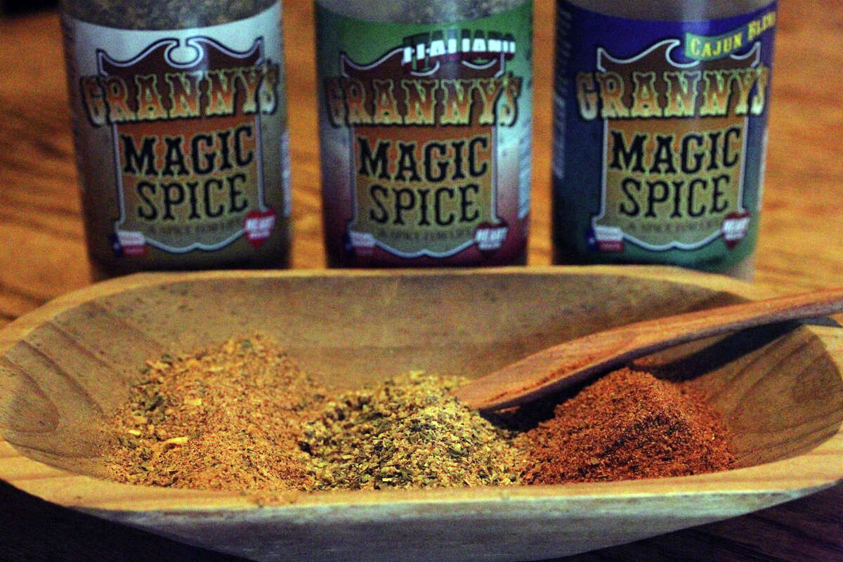 Fran West,77, has recently started her own spice company called Granny's Magic Spice. The spice mix is sold at H-E-B stores all over Texas and comes in its original flavor, Italian and Cajun styles. (Monday July 30, 2012) John Davenport/©San Antonio Express-News