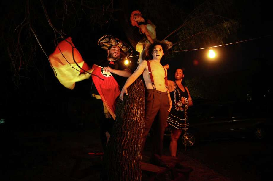"The ""¡Carpa!"" cast includes (from left) Dino Foxx, Billy Muñoz, Sheila Sisler-Currie and (overhead) Amanda Silva. Photo: Courtesy, Erik Bosse"