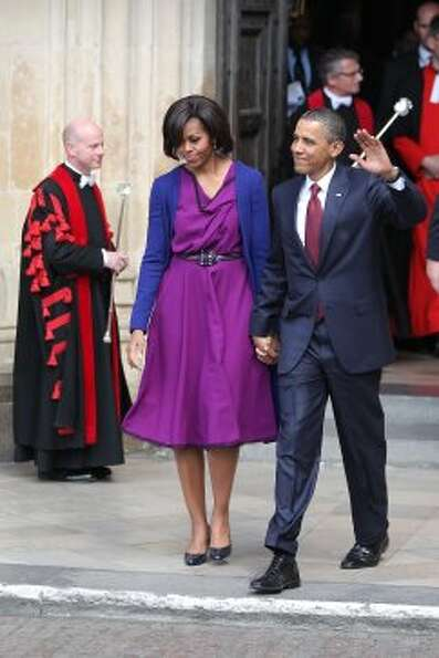 President Barack Obama and first lady Michelle Obama leave Westminster Abbey on May 24, 2011 in Lond