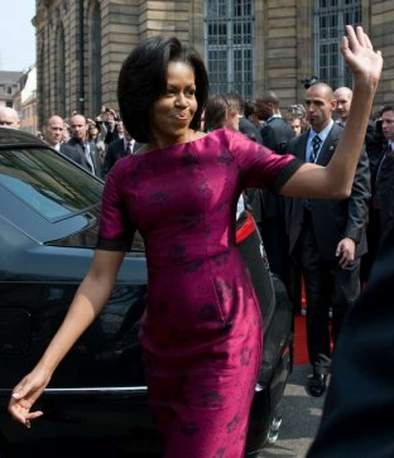 First Lady Michelle Obama leaves following a visit Nicholas Sarkozy  (unseen) at Palais Rohan in Strasbourg, on April 3, 2009 during the NATO summit.  (SAUL LOEB / AFP/Getty Images)