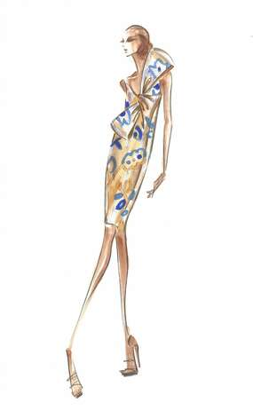 Douglas Hannant likes floral prints for  spring and has included them more than in his past collections. But for maximum impact he suggests that a lace gown or dress is a wise investment next spring. (Courtesy Douglas Hannant)