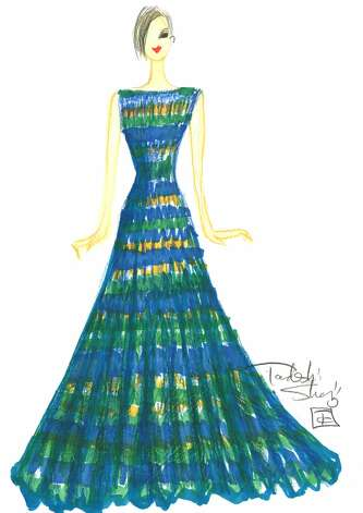 "Tadashi Shoji says his spring 2013 collection will be filled with colorful, printed dresses in Ikat or floral motifs.  Also, lace continues to be a big trend for the designer ""due to its classic femininity and refined grace,"" he says. (Courtesy Tadashi Shoji)"
