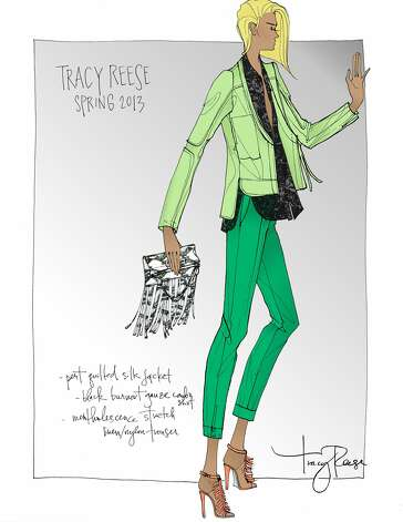Tracy Reese's spring 2013 color pallete will focus on foliage-inspired greens and her looks will juxtapose soft and structured garments. (Courtesy Tracy Reese)