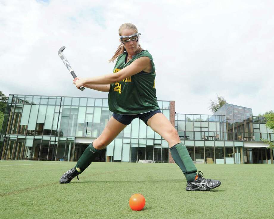 Emilia Tapsall, captain of the Greenwich Academy field hockey team, takes a shot during practice at the school, Wednesday, Sept. 5, 2012. Photo: Bob Luckey / Greenwich Time