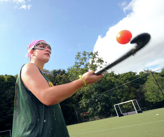 Greenwich Academy's Pam Schulman, captain of the field hockey team, during practice at the school, Wednesday, Sept. 5, 2012. Photo: Bob Luckey / Greenwich Time