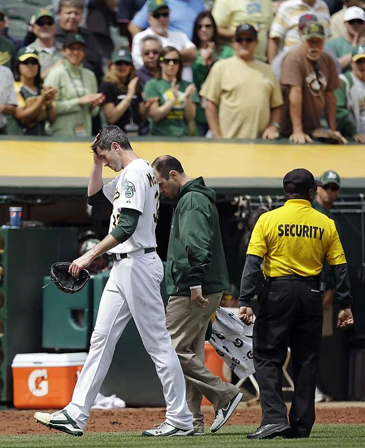 Oakland Athletics pitcher Brandon McCarthy (32) leaves the field with a trainer after being hit in the head by a ball hit by Los Angeles Angels' Erick Aybar in the fourth inning of a baseball game, Wednesday, Sept. 5, 2012, in Oakland, Calif. (AP Photo/Ben Margot) Photo: Ben Margot, Associated Press