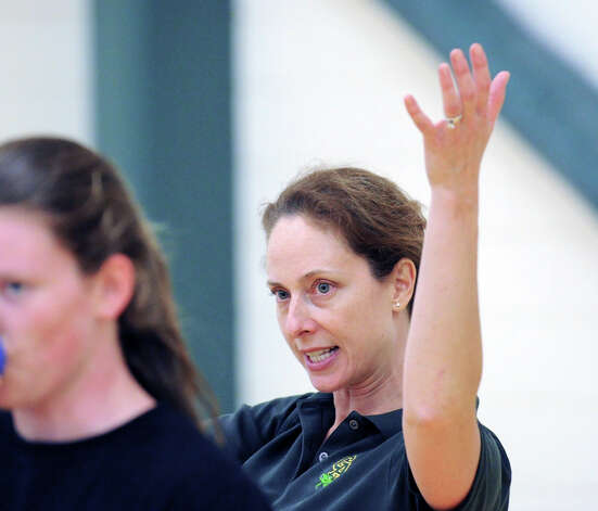 Greenwich Academy volleyball coach Christy Girard during scrimmage against Holy Child at Greenwich Academy, Wednesday, Sept. 5, 2012. Photo: Bob Luckey / Greenwich Time