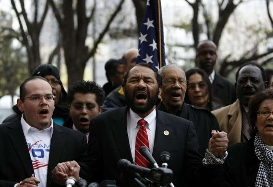 "Congressman Al Green, center, wrote that whether the letter was a prank or not, it is a serious matter and ""something that should not go unnoticed."""