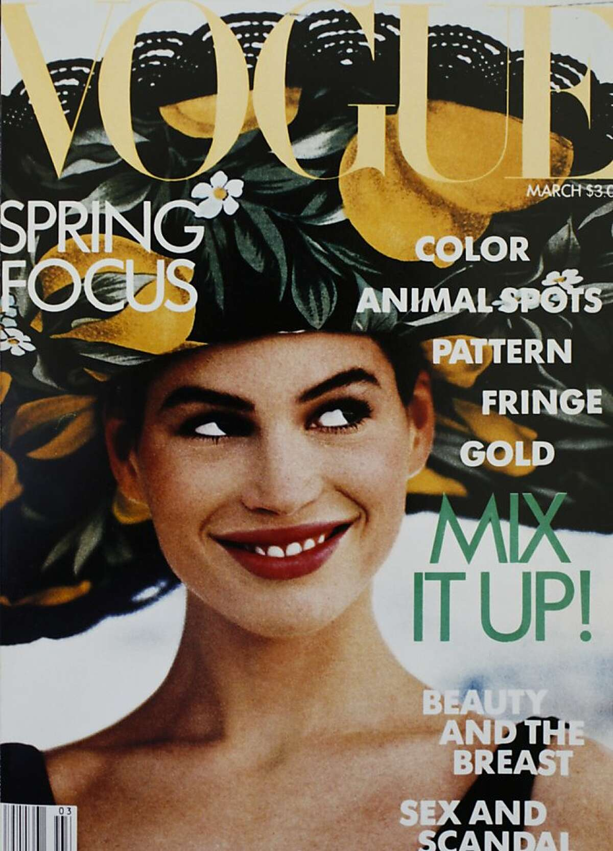 Supermodel Carrie Otis is seen early in her career on the cover of Vogue.