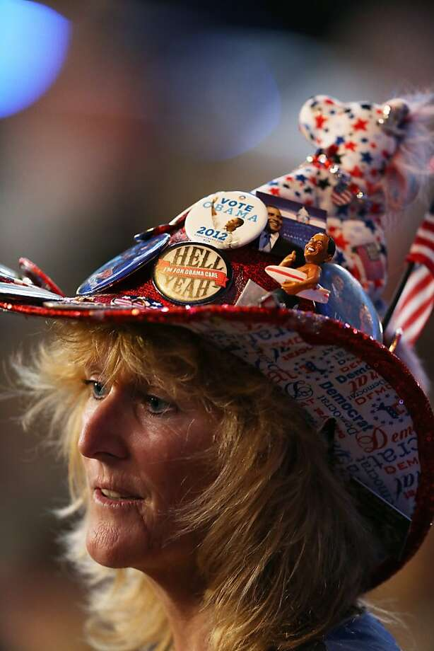 CHARLOTTE, NC - SEPTEMBER 05:  Delegate Kelly Jacobs of Mississippi wears a patriotic hat during day two of the Democratic National Convention at Time Warner Cable Arena on September 5, 2012 in Charlotte, North Carolina. The DNC that will run through September 7, will nominate U.S. President Barack Obama as the Democratic presidential candidate.  (Photo by Streeter Lecka/Getty Images) Photo: Streeter Lecka, Getty Images