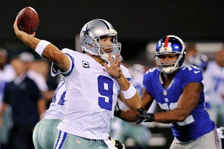 Dallas Cowboys quarterback Tony Romo (9) throws a pass during the first half of an NFL football game against the New York Giants, Wednesday, Sept. 5, 2012, in East Rutherford, N.J. (AP Photo/Bill Kostroun) Photo: Bill Kostroun, Associated Press / FR59151 AP