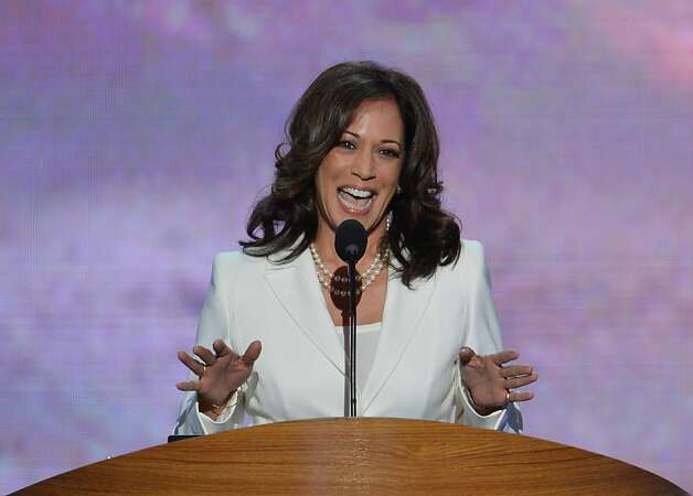California Attorney General  Kamala D. Harris speaks to the audience at the Time Warner Cable Arena in Charlotte, North Carolina, on September 5, 2012 on the second day of the Democratic National Convention (DNC). The DNC is expected to nominate US President Barack Obama to run for a second term as president on September 6th. Photo: Stan Honda, AFP/Getty Images