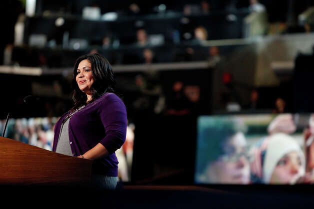 Dream Act Activist Benita Veliz, of San Antonio, speaks during the Democratic National Convention at Time Warner Cable Arena in Charlotte, NC on Wednesday, Sept. 5, 2012. Photo: Lisa Krantz, San Antonio Express-News / San Antonio Express-News