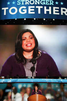 DREAM Act activist Benita Veliz of San Antonio speaks during the Democratic National Convention. Photo: Lisa Krantz, San Antonio Express-News / San Antonio Express-News