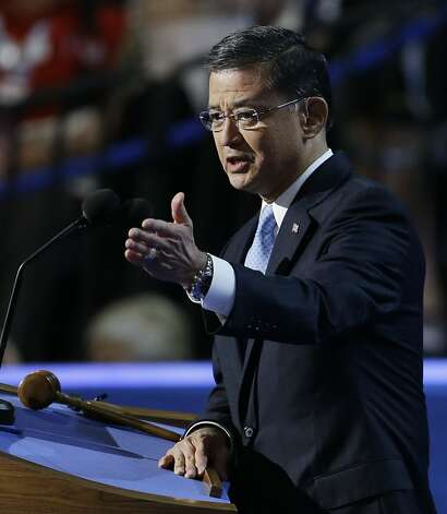 General Eric Shinseki speaks to delegates at the Democratic National Convention in Charlotte, N.C., on Wednesday, Sept. 5, 2012. Photo: Lynne Sladky, Associated Press