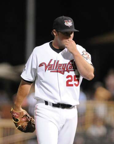 Tri-City ValleyCats' pitcher, Jeremiah Meiners, heads back to the dugout in the 7th inning against Hudson Valley, Wednesday night Sep. 5, 2012, at Joseph L. Bruno Stadium in Troy, N.Y. ValleyCats lost 3-2. (Will Waldron / Times Union) Photo: Will Waldron