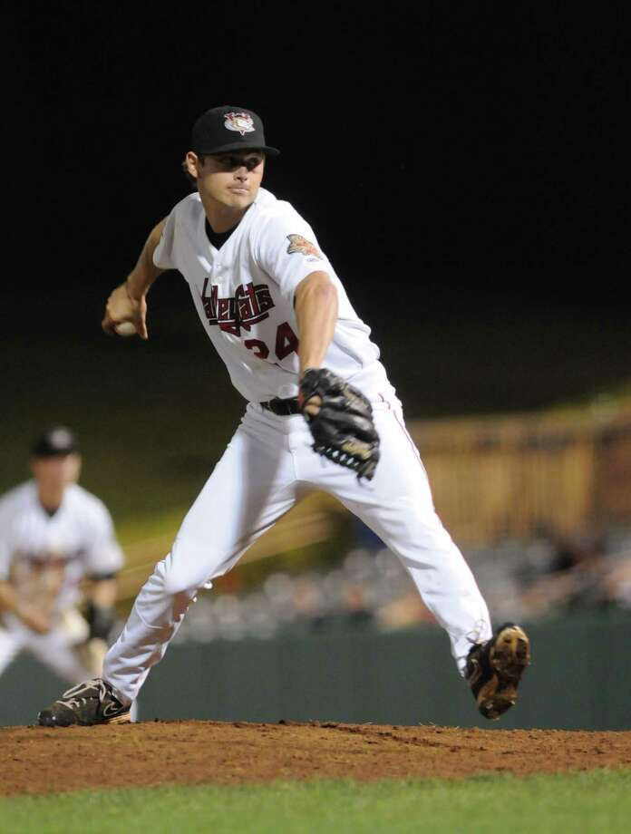 Tri-City ValleyCats' pitcher, Jeremiah Meiners, throws a pitch against Hudson Valley in the 9th inning, Wednesday night Sep. 5, 2012, at Joseph L. Bruno Stadium in Troy, N.Y. ValleyCats lost 3-2. (Will Waldron / Times Union) Photo: Will Waldron